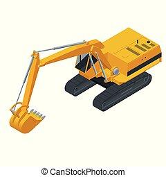 pesado, isometric, escavador, experiência., isolado, hidráulico, equipamento, vetorial, escavadores, ilustração, construção, hidráulico, branca