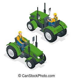 pesado, isometric, illustration., fieldwork., machinery., vetorial, field., maquinaria, agrícola, trabalhos, agricultura, arar, trator