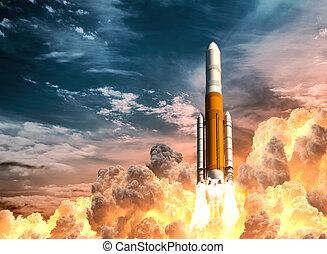 pesado, lancha cohete, cielo, nublado, plano de fondo