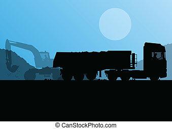 pesado, levantado, escavador, balde, local, carregador, vetorial, caminhão, fundo, construção, reboque