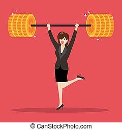 pesado, levantamento, mulher, peso, negócio
