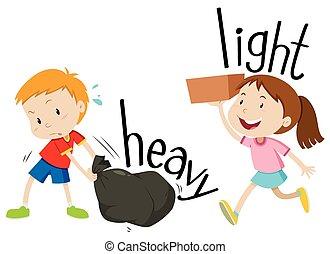 pesado, luz, adjectives, oposta
