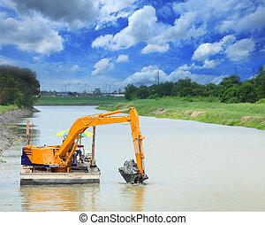 pesado, máquina, trabajando, canal