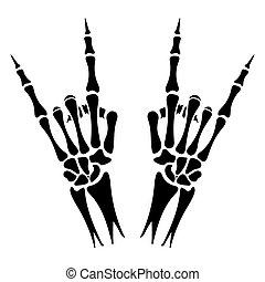 pesado, mãos, metal, esqueleto, sinal