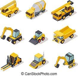 pesado, mapa, isometric, industrial, poder, escavador, machinery., escavadora, vetorial, máquina, equipamento, jogo, caminhão, veículo, construção, ferramentas, 3d