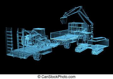 pesado, maquinaria construção