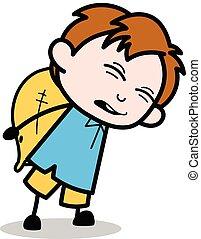 pesado, menino, escola, -, carregar, personagem, ilustração, vetorial, encargo, caricatura