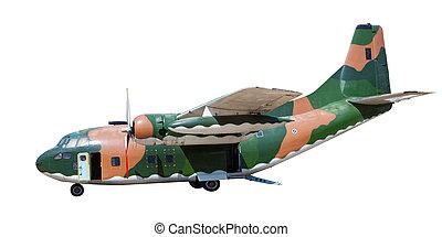 pesado, militar, recipiente, avião, isolado, fundo branco