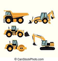pesado, mineração, jogo, maquinaria, construção
