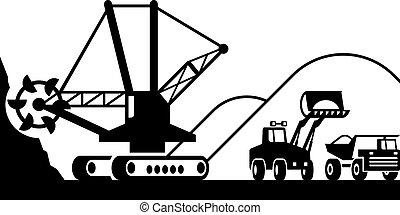 pesado, mineração, maquinaria