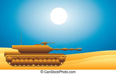 pesado, modernos, tanque, deserto