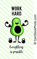 pesado, motivação, estilo vida, anúncio, saudável, cartaz, abacate, lifting., exercício, feliz