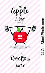 pesado, motivação, estilo vida, maçã, saudável, cartaz, lifting., feliz, exercício, anúncio