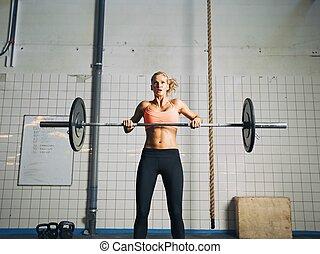 pesado, mulher, crossfit, jovem, pesos, levantamento