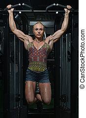 pesado, mulher, peso, jovem, costas, exercício