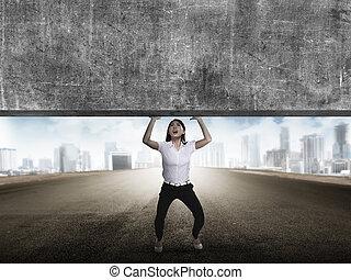 pesado, negócio mulher, elevador, asiático, bloco