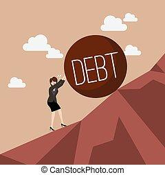 pesado, negócio mulher, empurrar, uphill, dívida