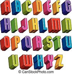 pesado, negrita, al, cartas, dimensional, vector, fuente, ...