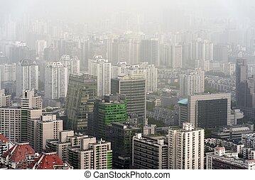 pesado, niebla tóxica, en, beijing