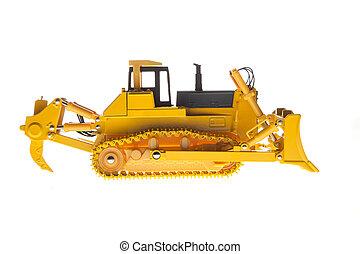 pesado, perfil, excavadora, maquinaria, vista lateral