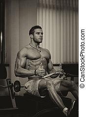 pesado, peso, atleta, costas, exercício aptidão