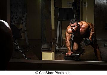 pesado, peso, espalda, culturista, macho, ejercicio