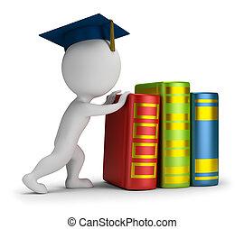 pesado, pessoas, -, pequeno, educação, 3d
