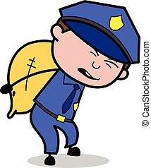 pesado, policial, groaning, policial, -, ilustração, vetorial, retro, encargo