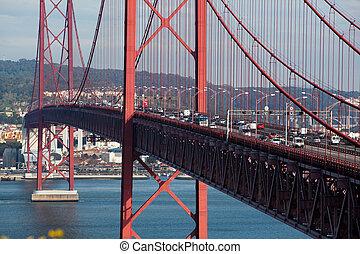 pesado, ponte, tráfego
