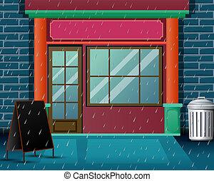 pesado, restaurante, muito, cena, chuva, fundo