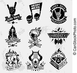 pesado, set., metal, vetorial, rocha, emblemas