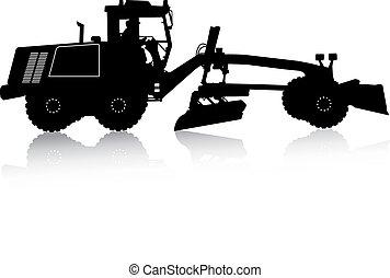 pesado, silueta, illustration., vector, grader., camino