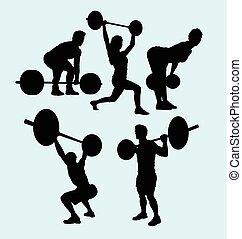 pesado, silueta, levantamento, condicão física