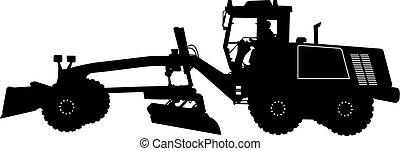 pesado, silueta, vector, camino, grader., ilustración