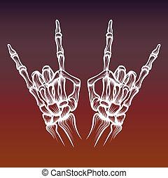 pesado, skeletone, metal, ossos mão, sinal