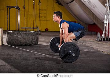 pesado, sobre, levantamiento, barra con pesas