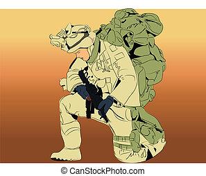 pesado, soldado, encargo