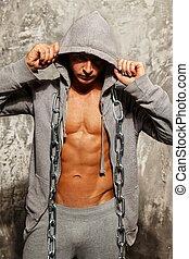 pesado, sporty, corrente, metal, cinzento, muscular, hoodie, homem