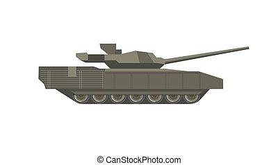 pesado, tanque, canhão, isolado, ilustração, longo, militar