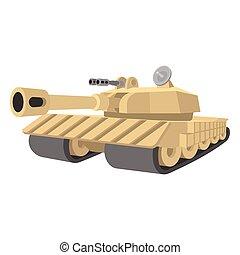 pesado, tanque, caricatura, ícone