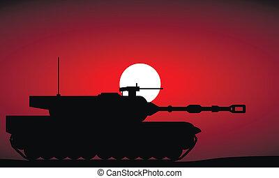 pesado, tanque, modernos, pôr do sol