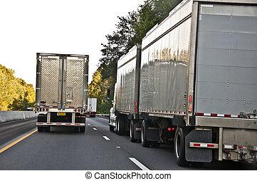 pesado, tarde, tráfico, tarde