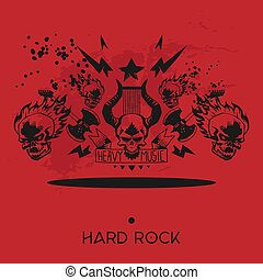 pesado, tatuagem, concerto, cranio, festival, padrão, papel parede, metal, ilustração, fundo, vetorial, música, rocked, rocha, desenho, musical, evento, fundo