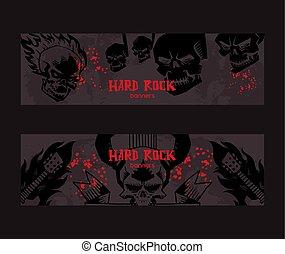 pesado, tatuagem, jogo, concerto, cranio, festival, padrão, metal, ilustração, musical, vetorial, música, fundo, rocha, desenho, bandeira, evento, fundo
