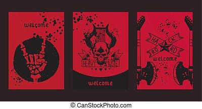 pesado, tatuagem, jogo, concerto, cranio, festival, padrão, papel parede, metal, ilustração, musical, vetorial, música, fundo, rocha, desenho, evento, fundo