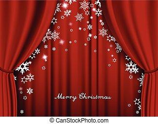 pesado, teatro, snowflakes., saudação, cortina vermelha, cartão natal