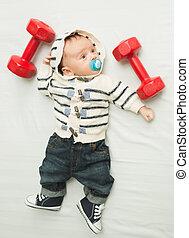 pesado, toned, dumbbells, menino, foto, bebê, levantamento