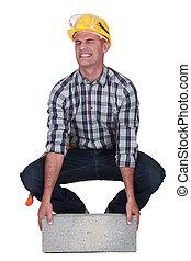 pesado, trabalhador construção, bloco, levantamento