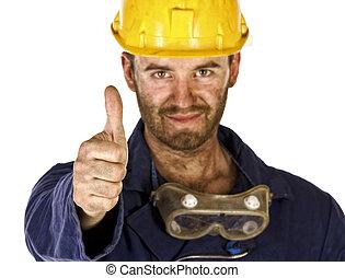 pesado, trabalhador indústria, confiança