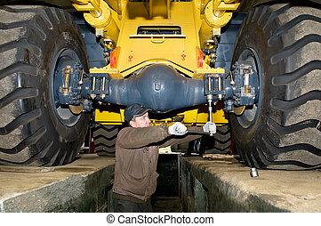 pesado, trabalho, manutenção, carregador